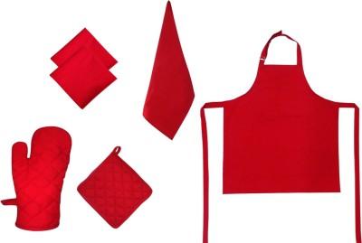 Adt Saral Red Cotton Kitchen Linen Set