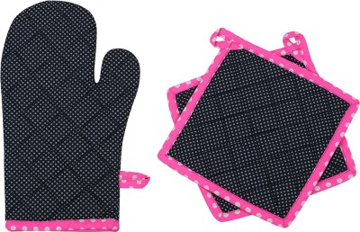 Mia Black, Pink Cotton Kitchen Linen Set(Pack of 3)
