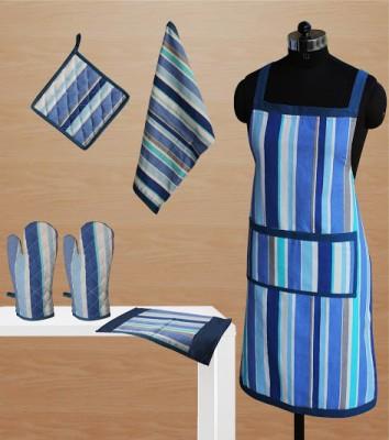 Dekor World Blue Cotton Kitchen Linen Set