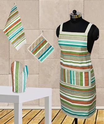 Dekor World Green Cotton Kitchen Linen Set