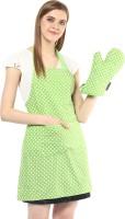 Wobbly Walk Light Green Cotton Kitchen Linen Set(Pack of 2)
