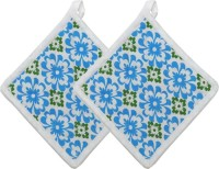 Cotonex Blue, Green Cotton Kitchen Linen Set(Pack of 2)