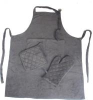Homeblendz Grey Cotton Kitchen Linen Set(Pack of 3)