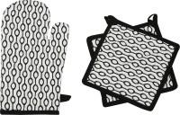 Mia Black, White Cotton Kitchen Linen Set(Pack of 3)