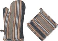 Cotonex Beige, Black Cotton Kitchen Linen Set(Pack of 2)