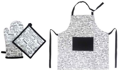 Cotonex White, Black Cotton Kitchen Linen Set(Pack of 3)