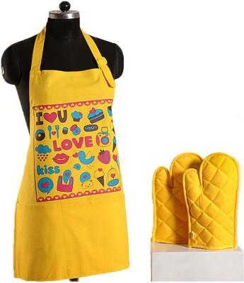 Swayam Yellow Cotton Kitchen Linen Set