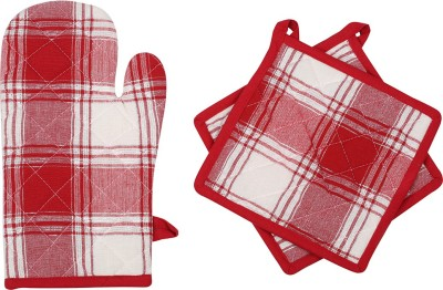 Mia Red Cotton Kitchen Linen Set(Pack of 3)
