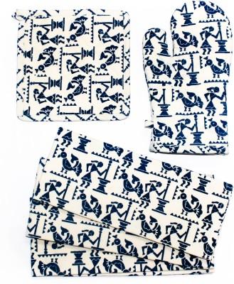 Barkat Collection Beige, Blue, Multicolor Cotton Kitchen Linen Set