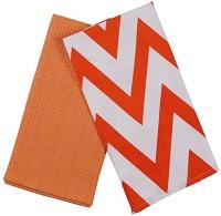 London Lady White, Orange Cotton Kitchen Linen Set(Pack of 2)