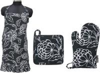 R home Black Cotton Kitchen Linen Set(Pack of 3)