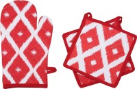 Mia Red, White Cotton Kitchen Linen Set(Pack of 3)