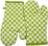 Tidy Light Green, White Cotton Kitchen Linen Set(Pack of 2)