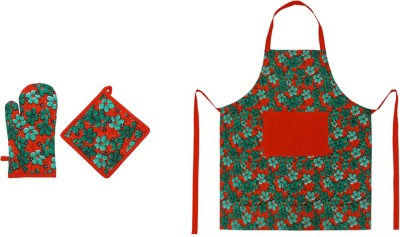 Cotonex Green, Red Cotton Kitchen Linen Set