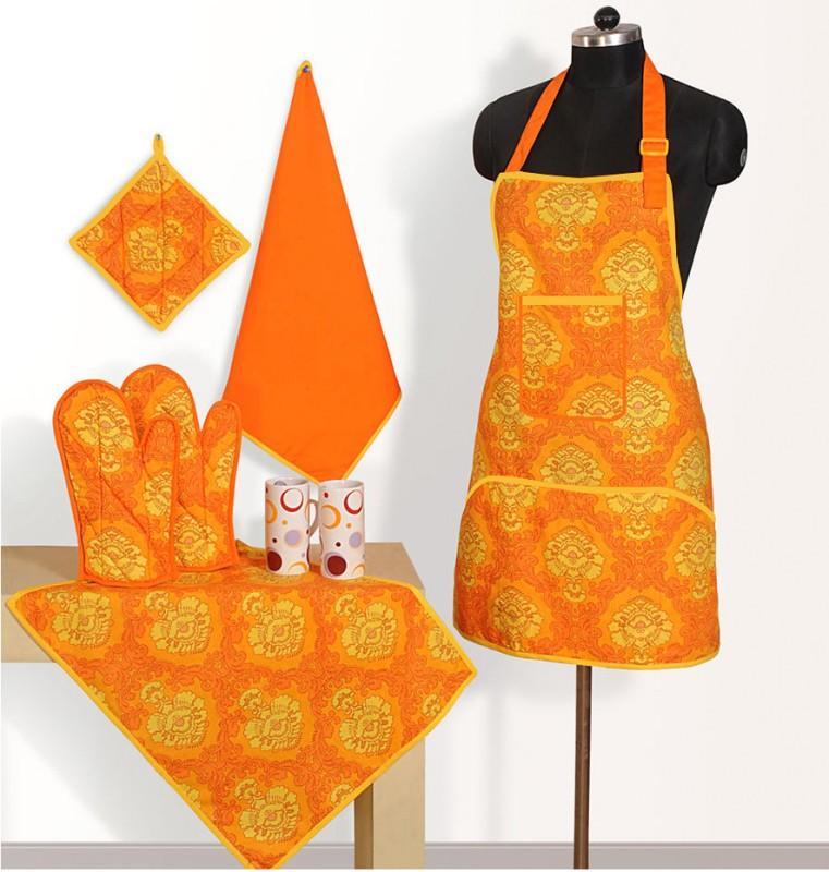 Swayam Orange, Yellow Cotton Kitchen Linen Set(Pack of 6)
