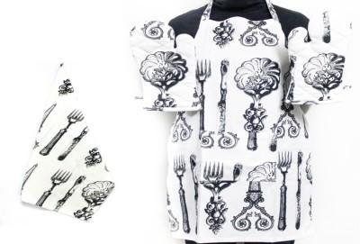 Barkat Black, Multicolor Cotton Kitchen Linen Set