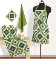 Swayam Yellow, Green Cotton Kitchen Linen Set(Pack of 6)