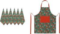 Cotonex Green, Red Cotton Kitchen Linen Set(Pack of 7)