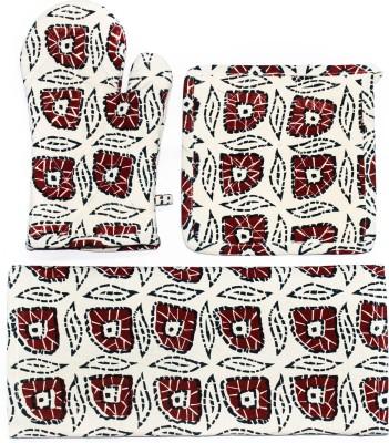 Barkat Collection Beige, Red Cotton Kitchen Linen Set