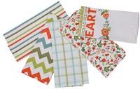 London Lady White, Orange Cotton Kitchen Linen Set(Pack of 5)
