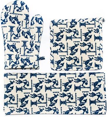 Barkat Collection Beige, Blue Cotton Kitchen Linen Set