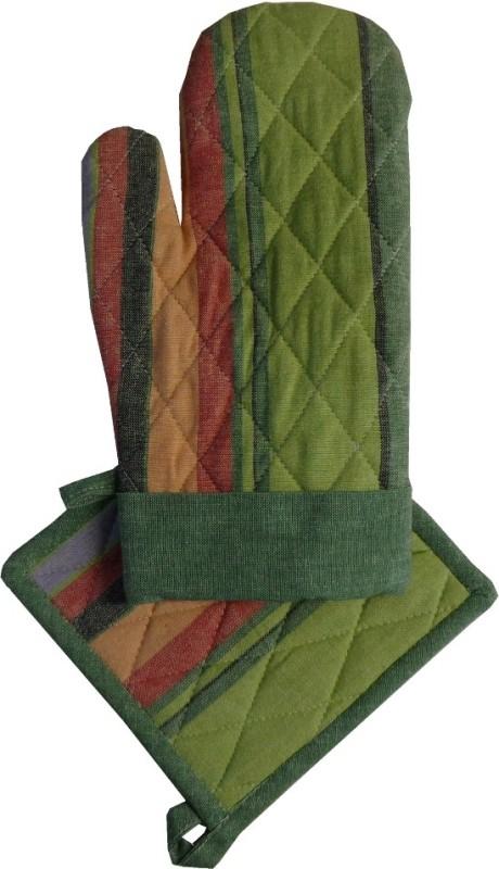Adt Saral Green Cotton Kitchen Linen Set(Pack of 2)
