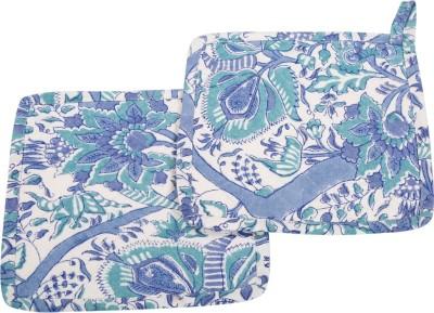 Rajrang White, Blue Cotton Kitchen Linen Set