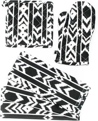 Barkat Collection Black, White Cotton Kitchen Linen Set