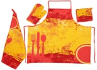 Moohaambika Home Red, Yellow Cotton Kitchen Linen Set(Pack of 4)