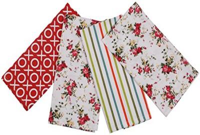 London Lady White, Red Cotton Kitchen Linen Set