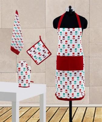 Dekor World Maroon Cotton Kitchen Linen Set