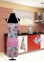 URBAN-TRENDZ Pink Cotton Kitchen Linen Set(Pack of 4)