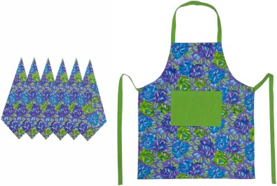 Cotonex Green, Purple Cotton Kitchen Linen Set