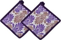 Cotonex Purple, White Cotton Kitchen Linen Set(Pack of 2)