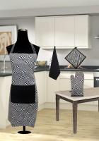 URBAN-TRENDZ Black Cotton Kitchen Linen Set(Pack of 4)