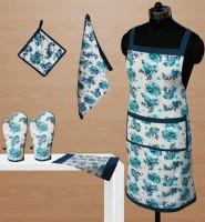 Dekor World Blue Cotton Kitchen Linen Set(Pack of 6)