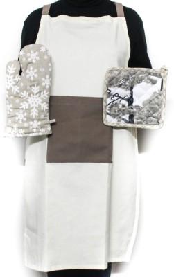 Barkat Beige, Brown Cotton Kitchen Linen Set
