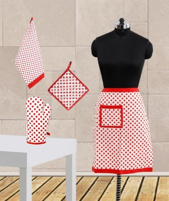 Dekor World Red Cotton Kitchen Linen Set