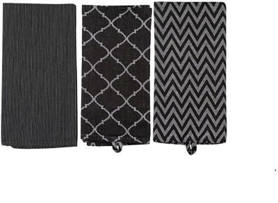London Lady Black Cotton Kitchen Linen Set