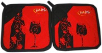 Tidy Red, Black Cotton Kitchen Linen Set(Pack of 2)