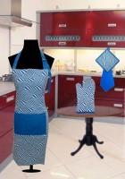URBAN-TRENDZ Blue Cotton Kitchen Linen Set(Pack of 4)