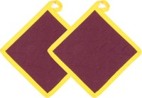 Cotonex Yellow, Maroon Cotton Kitchen Linen Set(Pack of 2)