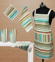 Dekor World Green Cotton Kitchen Linen Set(Pack of 6)