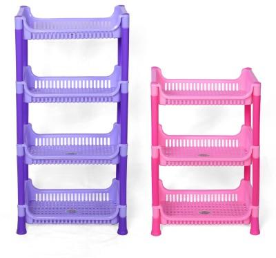 Navkar-CP Plastic Kitchen Rack(Blue, Pink)