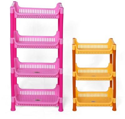 Navkar-Cp Plastic Kitchen Rack(Pink, Yellow)