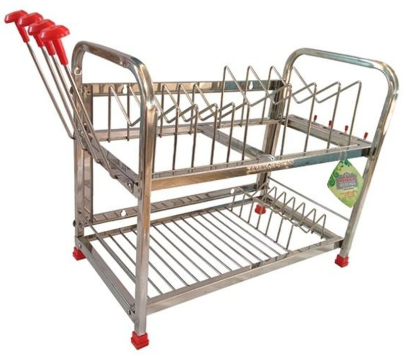 Maharaja Modern (Smaller Size) For Dishes-Plates-Glass-Crockery Stainless Steel Kitchen Rack(Silver)