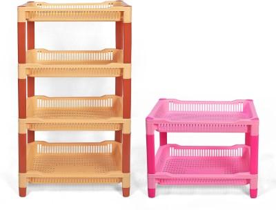 Navkar-Cp Plastic Kitchen Rack(Yellow, Pink)