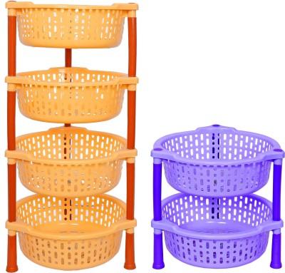Navkar-Cp Plastic Kitchen Rack(Yellow, Blue)