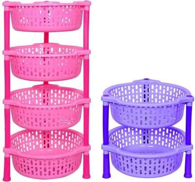 Navkar-Cp Plastic Kitchen Rack(Pink, Blue)