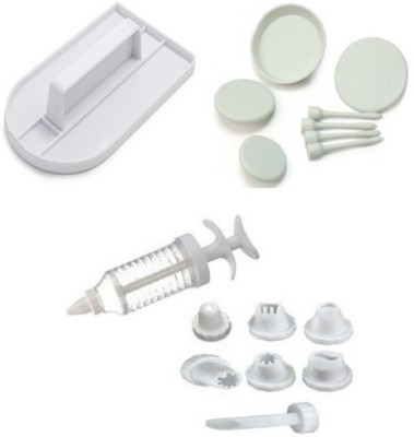THW Bakeware Combo including Decorating Syringe with 8 Nozzles , Fondant Smoother , 4 Flower Nails Multicolor Kitchen Tool Set
